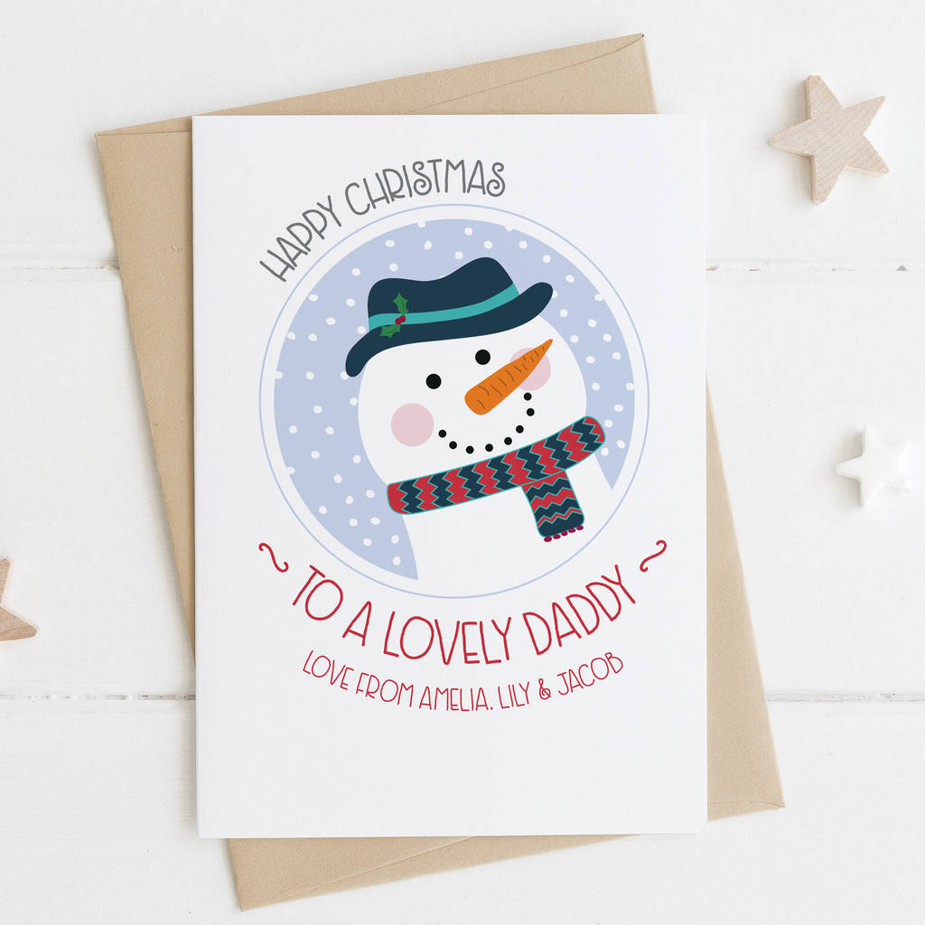 cute snowman xmas card for daddy by wink design
