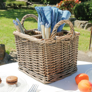 Wicker Cutlery Holder Caddy