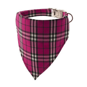 Cerise Pink Plaid Bandana Dog Collar - pet collars