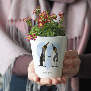 Personalised Penguin Couple Plant Pot Vase With Seeds