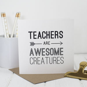 Awesome Teacher Card In Three Colours - funny cards