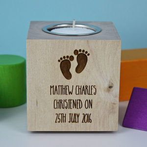 Christening Tea Light Candle Holder - candles & home fragrance