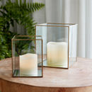 Brass Terrarium Lantern And Candle Set