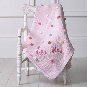Personalised Pink Bobble Knitted Pram Blanket - sleeping
