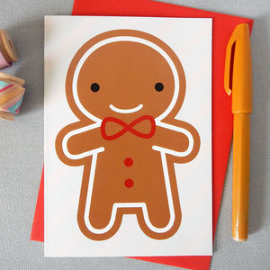 Cookie Cute Kawaii Gingerbread Man Card - cards & wrap