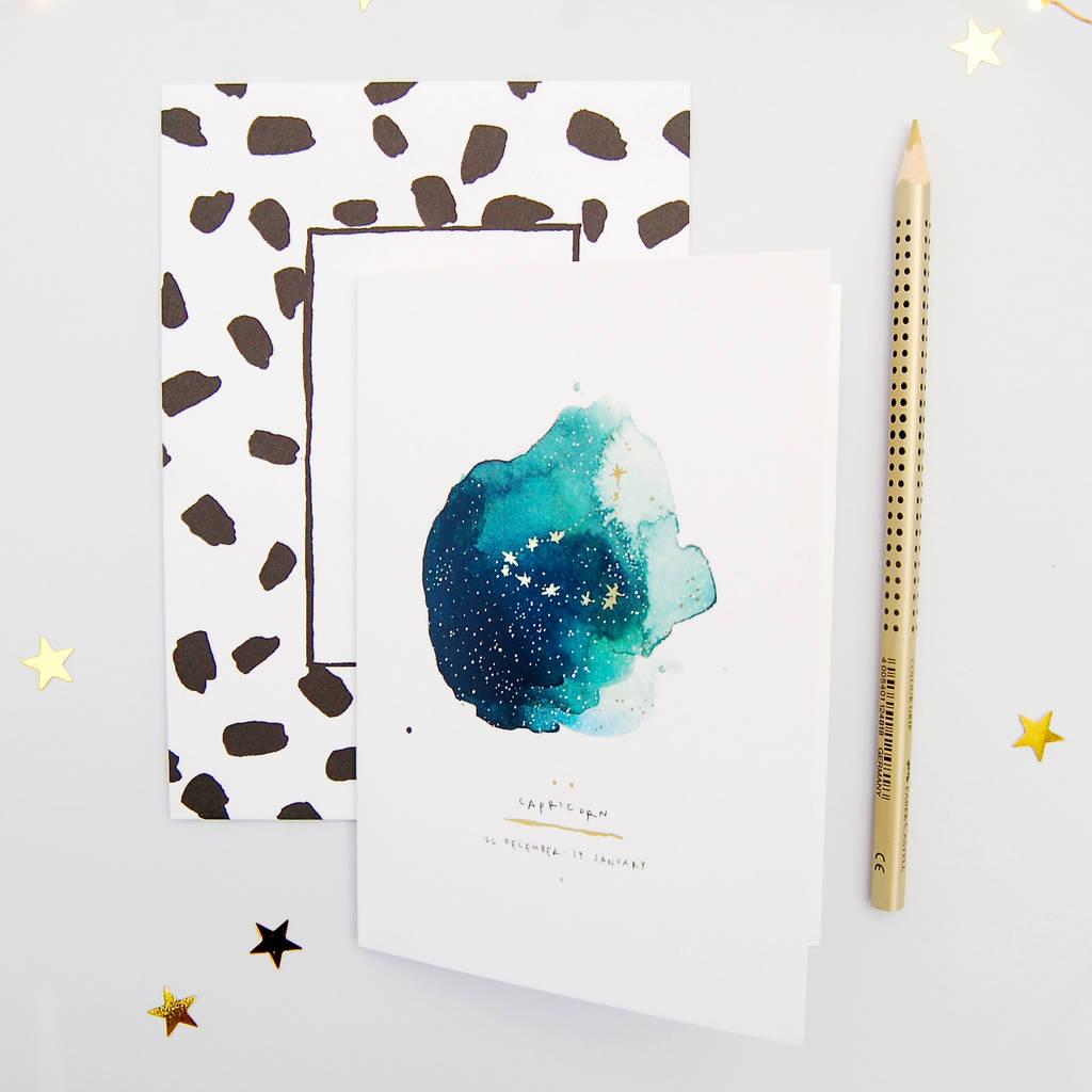 Birthday Card Capricorn Zodiac Star Sign By Blank Inside