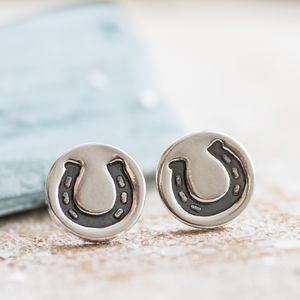 Lucky Horseshoe Stud Earrings - earrings