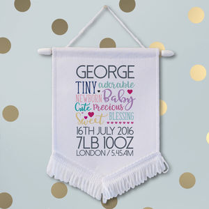 Personalised New Baby Banner - nursery pictures & prints