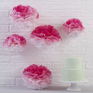 Pink Ombre Tissue Paper Pom Poms - outdoor decorations