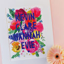 Personalised Family Watercolour Florals Papercut Print