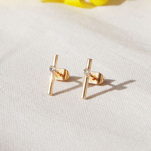 Modern Gold Studs With Gem Stone
