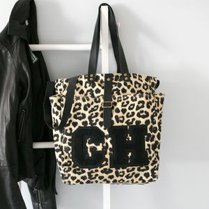 Personalised Leopard Print Tote Bag - womens