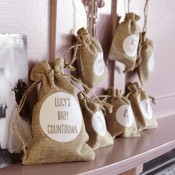 New Baby Countdown Hessian Gift Sacks For Mum To Be