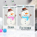 Personalised Snowman Baby 1st Christmas Card