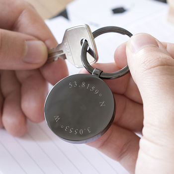 Personalised Coordinates Circle Disc Keyring