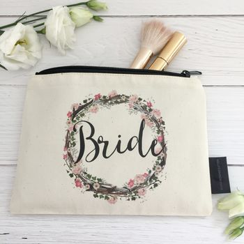 'Bride' Floral Make Up Bag