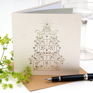 Silver Wedding Anniversary Card Laser Cut Cake Design - shop by occasion