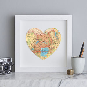 Personalised Location Uganda Map Heart Print - maps & locations