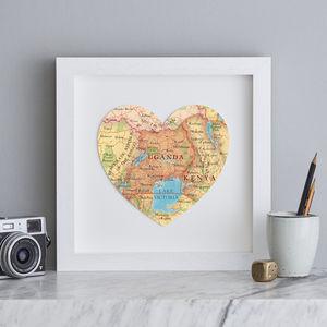 Personalised Location Uganda Map Heart Print - posters & prints