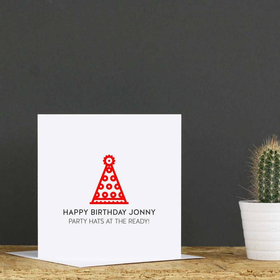 Personalised Party Hat Birthday Card