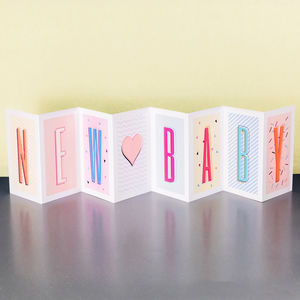 Personalised New Baby Concertina Card - new baby cards