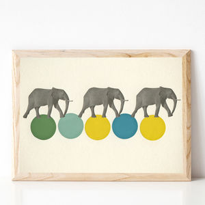 Travelling Elephants Retro Circus Print