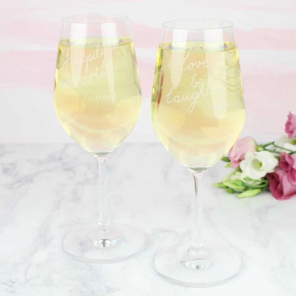 Set Of Two Personalised Wedding Wine Glasses