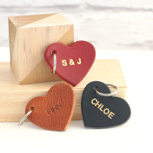 Personalised Embossed Leather Heart Keyring - wedding favours