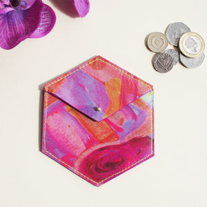 'Hexagon Kaleidoscope' Printed Leather Coin Purse