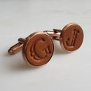 Copper And Leather Initial Cufflinks