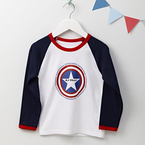 Boys Personalised Superhero Long Sleeve T Shirt
