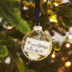 glass bauble with personalised embroidered note christmas decorations
