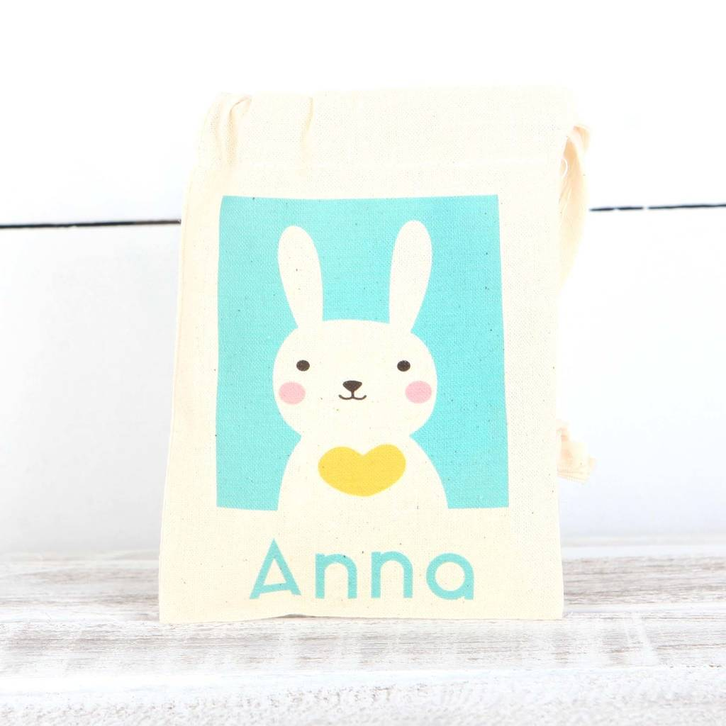 Personalised bunny rabbit cotton bags by red berry apple x small personalised easter gift bag negle Gallery