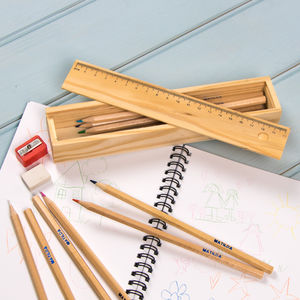 Retro Wooden Pencil Box - diaries, stationery & books
