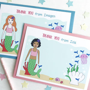 Mermaid Personalised Thank You Note Cards - winter sale