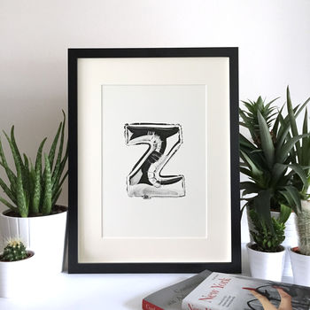 Illustrated Balloon Letter Print A To Z