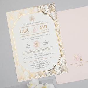 Love Lace Foil Supa Simple Invitation - reply & rsvp cards