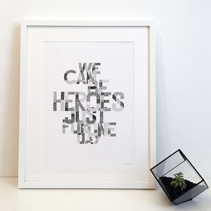 'We Can Be Heroes' David Bowie Lyrics Typography Print