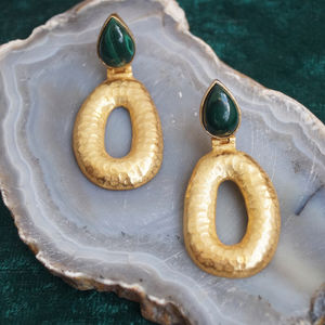 Hammered Disc And Malachite Drop Earrings - earrings