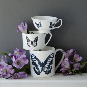 Butterflies Personalised Hand Decorated China Cups - kitchen