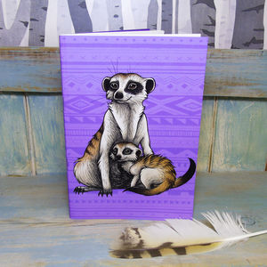Meerkats Illustration Notebook With Lined Pages