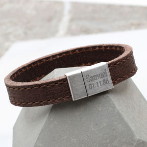 Mens Personalised Textured Leather Bracelet - bracelets