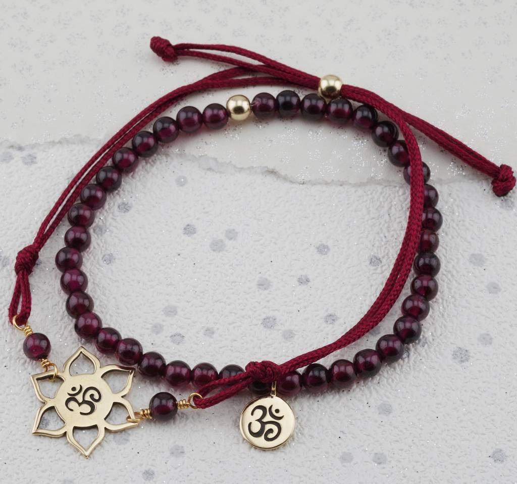 Ohm Charm Garnet Bracelet In Gold Or Silver