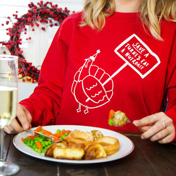 'Save A Turkey' Vegan Vegetarian Christmas Jumper