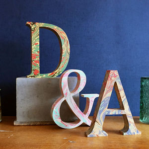 Marbled Wooden Letters - room decorations