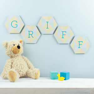 Personalised Nursery Wall Art Name Honeycombs