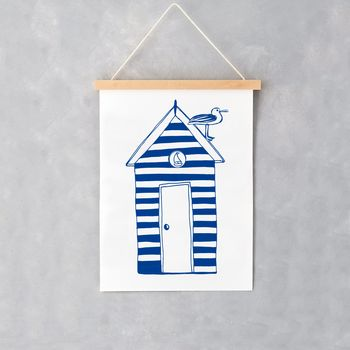 Nautical Beach Hut A4 Print