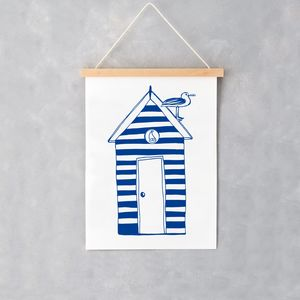 Nautical Beach Hut A4 Print - baby's room