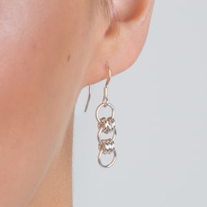 Silver Earrings With Silver, Gold Or Rose Gold Links