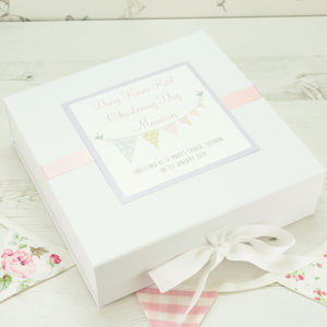 Personalised Bunting Christening Memory Box